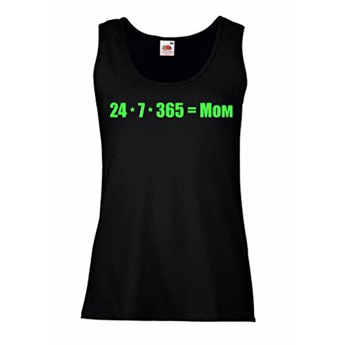 Camisetas sin Mangas para Mujer La Mejor mamá - Amor Usted Mensaje de la mamá - cumpleaños, día de Madres, Regalos del Aniversario (X-Large Negro Verde)