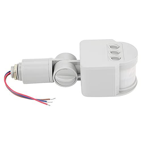 Sensor de Movimiento infrarrojo, UNISOPH Interruptor inductor del detector de detección de infrarrojos de 2-6 metros para luces de inundación Lámparas LED Pasillo Escaleras