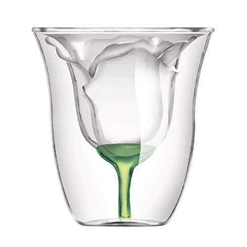 BESTONZON Doppelschicht Glas Wein Tasse Rose Blossom Doppelwand Cocktail Bierkrug Tasse Hitzebeständig für Wodka Whisky Trinken 180ml