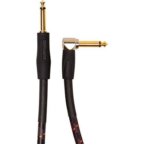 Roland Gold-Serie Patch/Pedal-Kabel – gerade auf gewinkelte 6,3-mm-Klinkenstecker, Länge: 3 m – RIC-G10A
