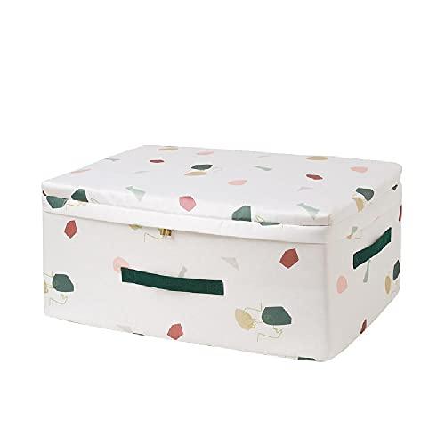 LEIKEI Pieza de Cajas de Almacenamiento con Tapa y Asas, Cajas de Almacenamiento Plegables para guardarropas, Ropa, Cajas de Almacenamiento, Style 3-M