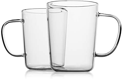 LUXU Glass Coffee Mugs Set of 2 17 oz Clear Beer Mugs Glass Tea Cups with Comfortable Handle product image