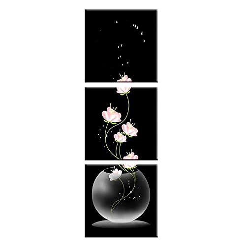 Tríptico Vertical de Pared Sin Marco Paneles Cuadrados Flores Rosas y Jarrón de Vidrio Transparente Cuadros de Lienzo Modernos para la Decoración del Hogar-50cmx50cmx3pcs