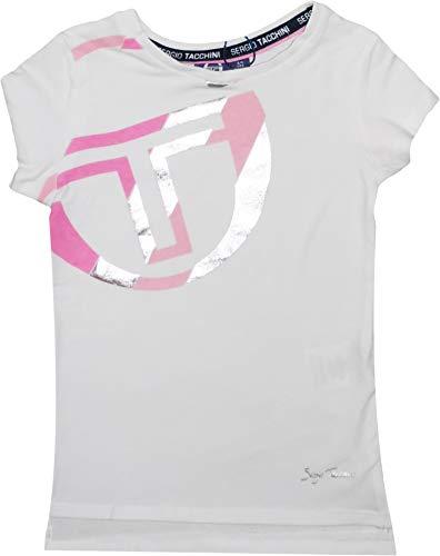 Sergio Tacchini - Camiseta deportiva de manga corta para niña (algodón) Blanco blanco 3/4 años
