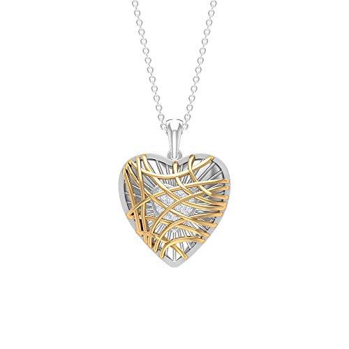Colgante de corazón, collar de diamante HI-SI, colgante de dos tonos, collar con colgante de oro amarillo