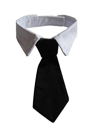 VEDEM Dog Necktie Pet Tuxedo Cotton Collar with Black Tie for Small Medium and Large Dogs (L)