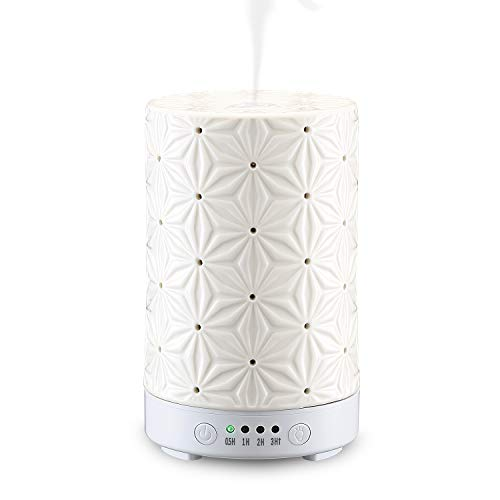 STAR MOON 100ml Ceramic Aromatherapy Essential Oils Diffuser, Cool Mist Humidifier with Timer and 7-Color LED Night Light, Waterless Auto Off Function - White Bauhinia Pattern