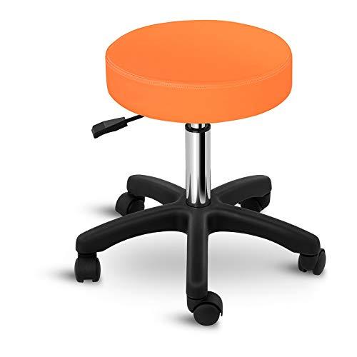 Physa Rollhocker Arbeitshocker mit Rollen Drehhocker Aversa ORANGE (orange, höhenverstellbar, max. 150 kg)