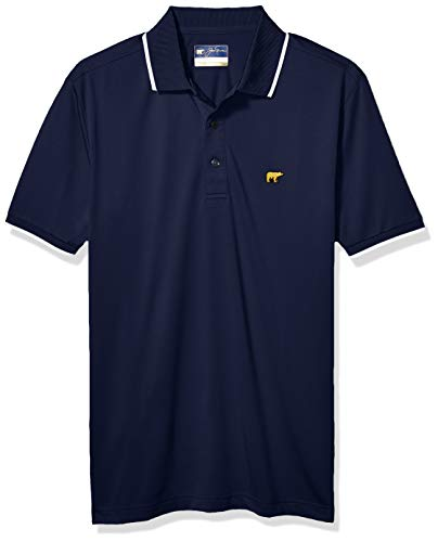 Jack Nicklaus Men's Short Sleeve Solid Polo with Rib & Cuff Tipping, Classic Navy