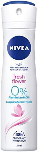 NIVEA Fresh Flower Deo Spray (150 ml), Deo ohne Aluminium (ACH) mit frischem Blumenduft, pflegendes 48h Deodorant mit antibakteriellem Schutz