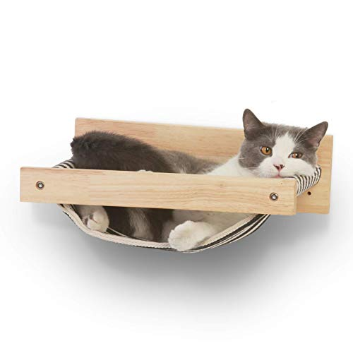 FUKUMARU Cat Hammock Wall Mounted Large Cats Shelf - Modern Beds and Perches - Premium Kitty Furniture for Sleeping, Playing, Climbing, and Lounging - Easily Holds up to 40 lbs, Black Stripe