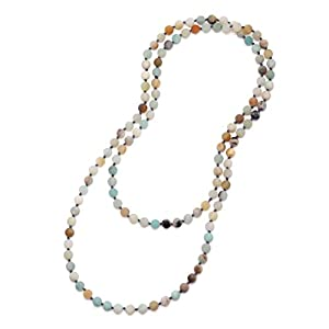 Aobei Pearl Long Beaded Necklace 8mm Gemstone Amazonite Endless Barse Chakra Handmade Jewelry for Women 47''