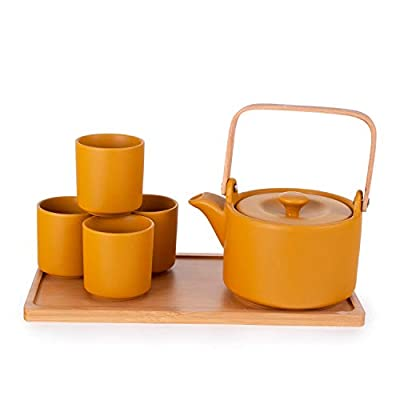 Hinomaru Collection Ceramic Teapot with Stainless Steel Infuser and Metal Handle 26 fl ounce and Four Tea Cups with Bamboo Serving Tray Tea Set and Bamboo Handle (Yellow)