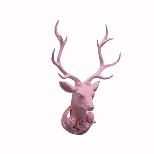 Hjorthuvudskulptur Deer Head Wall Hanging Djurhuvud Creative Living Room hängande smycken, Hållbar Resin, som används i TV Wall Bakgrund matsal (rosa, 44 * 61 * 16) Hantverk (Color : Pink)