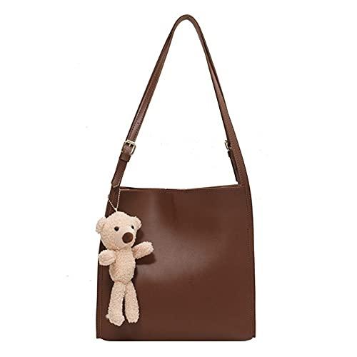 Bolsos cruzados casuales de gran capacidad, correa ancha para mujer, bolsos de cuero de lujo, bolsas de hombro de cuero, bolsa de cubos (color: caqui, tamaño: 29 x 10,5 x 29)