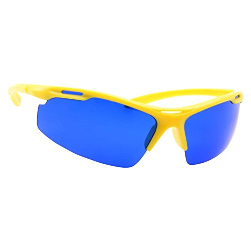 Golf Ball Finder Locating Glasses - Sports Style Blue Lens Sunglasses for Men (Yellow)