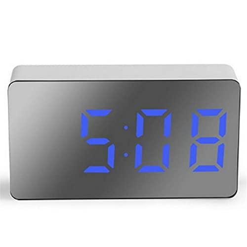 RURUZI Reloj despertador digital con espejo y espejo con luces LED nocturnas, termómetro de pared, rectangular, multifunción, pantalla LED (color azul)