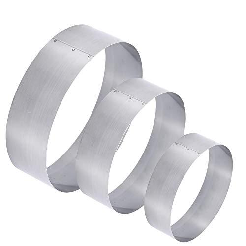 ManYee Large Round Cake Ring 3 Pack 4/6/8 Inch Stainless Steel Circle Mousse Cake Ring Milk Bar Mold for Cake DIY Baking Mould Tool