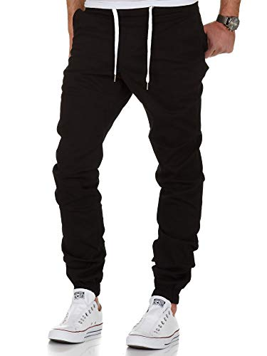 Amaci&Sons Herren Stretch Jogger Basic Chino Jeans Hose Cargo 7002 Schwarz W34
