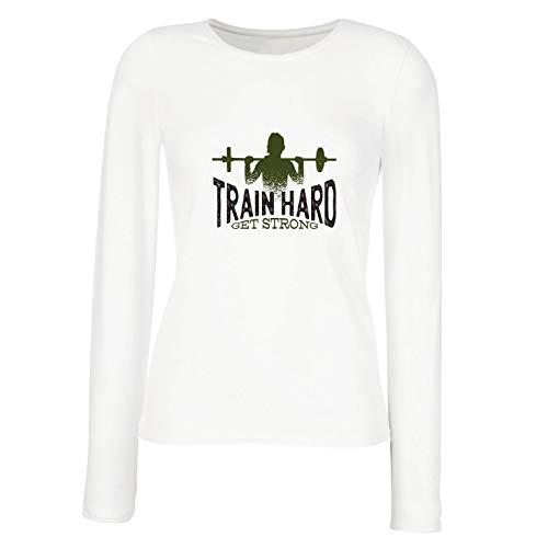 lepni.me Weibliche Langen Ärmeln T-Shirt Hart trainieren, stark Werden - Motivierende Trainingszitate (Large Weiß Mehrfarben)