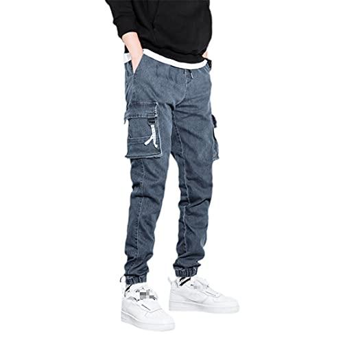 Pantalones vaqueros de carga para hombre con bolsillos laterales sólidos, ajustados, pantalones vaqueros, Blue Jeans Hombre, 5X-Large