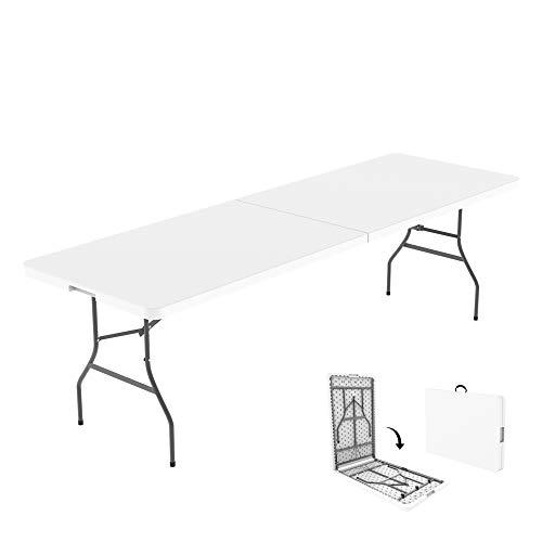 Todeco - Garten Klapptisch, Klappbarer Tisch, 240 x 75.5 cm, Weiß, In der Mitte klappbar, Material: HDPE, Maximale Belastbarkeit: 100 kg