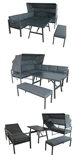 Mandalika Garden Hohe Dining Aluminium Lounge Newport, 3 in 1 mit Sonnendach und verstellbaren Kopfteilen