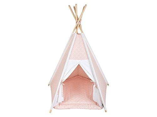 KraftKids Spielzelt-Tipi Uniweiss weiße Halbkreise auf Pastelrosa, Indianer-Zelt zum Spielen für Kinder, Kleinkinder und Babys, inkl. Spielmatte