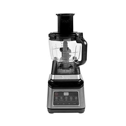 Ninja 3-in-1-Küchenmaschine mit Auto-iQ [BN800EU] 1200 W, 1,8-l-Behälter, 2,1-l-Kanne, 0,7-l- Becher, Schwarz/Silber