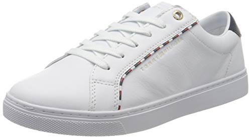 Tommy Hilfiger Corporate Detail Sneaker, Scarpe da Ginnastica Basse Donna, Bianco (White 100), 40 EU