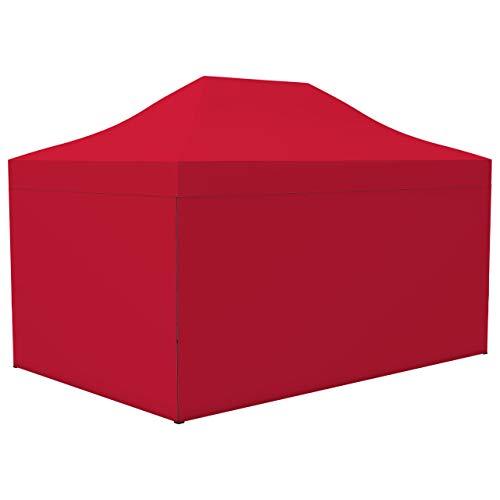 Vispronet Profi Faltpavillon Basic - 3x4,5 m in Rot - 4 Vollwände - Scherengittersystem - Farbe & Größe wählbar