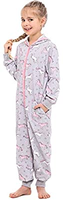 Merry Style Pijama Entero Una Pieza Ropa con Capucha de Cama Niña MS10-223 (Melange Unicornio, 158-164)