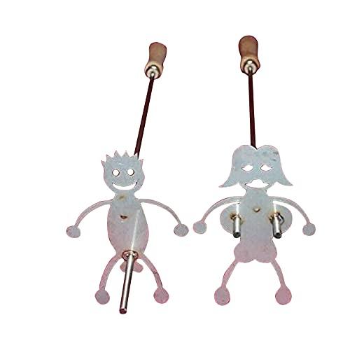 LPOIU 2 pinchos para barbacoa de acero inoxidable, tenedores con cepillo, varillas para barbacoa Marshmallow, para hoguera, camping
