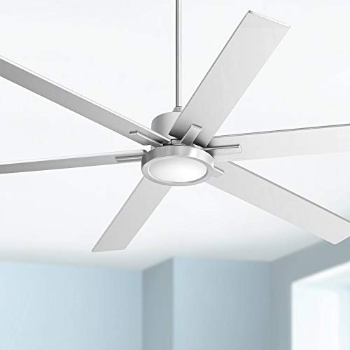 """70"""" Nucleus Modern Contemporary Industrial Ceiling Fan with Light LED Remote Control Brushed Nickel Silver Wood for House Bedroom Living Room Home Kitchen Family Dining Office - Casa Vieja"""