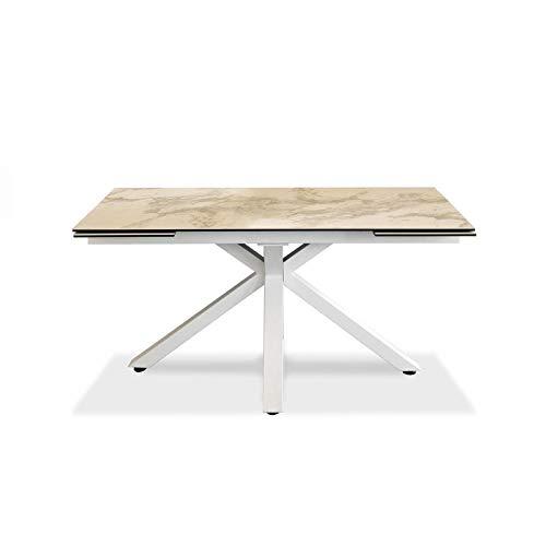Mesa extensible de 160 cm a 240 cm. Moderna para comedor con dos extensiones. Parte superior de cerámica sobre cristal templado y patas de metal (mármol blanco).