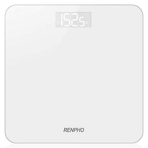 RENPHO Digitale Personenwaage, Ultraschlanke Körperwaage mit Hochpräzisions-Sensoren, Gewichtswaage mit Step-On-Technik, Weiß