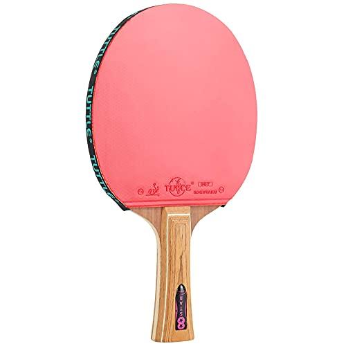 HXFENA Raqueta de Tenis de Mesa,Palas de Ping Pong Profesional de 8 Estrellas Mango de Madera Pura de Alta Elasticidad,Excelente Velocidad de Giro Potencia Y Control/A/mango la