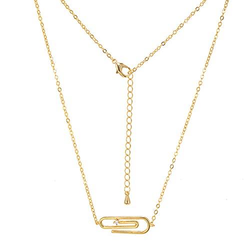 Clip de papel collar de múltiples capas combinación de estrella y luna cadena de clavícula ins conjunto de apilamiento popular estilo de cadena 1
