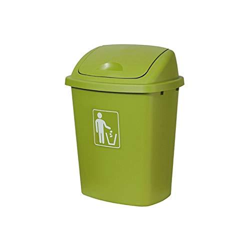 xuejuanshop Papelera Bote de Basura plástico 65L El Uso al Aire Libre de la Capacidad Grande cubrió el Bote de Basura del Aula del hogar de la Cocina Bote de Basura (Color : Green, Size : 30L)