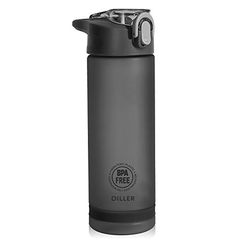 Diller Water Bottle with Straw - 25 Oz US Tritan BPA Free Sport Water Bottle with Flip-Flop Lid (Black)