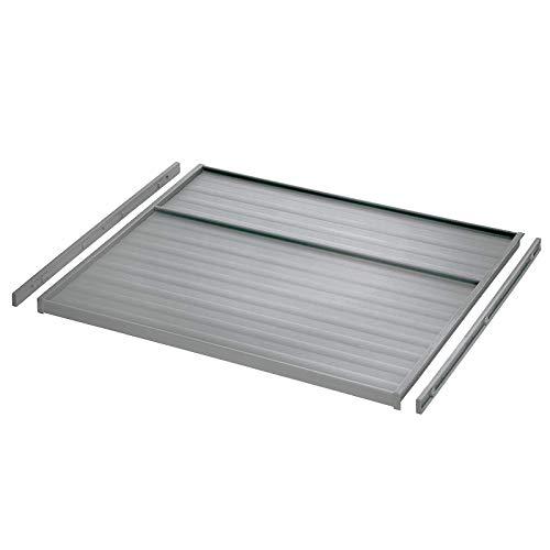 Ninka eins2vier Plaque Couvercle + Glissières pour Couvercle pour Largeur Meuble 600 mm gris aluminium, Épaisseur latéral 16 mm Système Tri des Déchets Poubelle de SO-TECH®