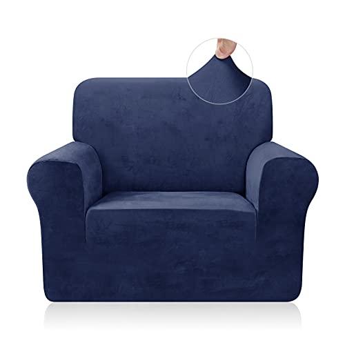 TAOCOCO Funda de sofá Funda de sofá de Terciopelo Mantas de sofá Funda de sofá elástica Fundas de sofá para Sala de Estar (Azul Oscuro, 1 Plaza)