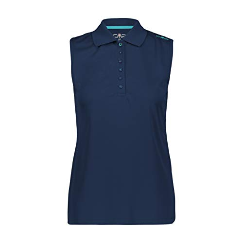 CMP Polo sans Manches pour Femme - Couleur Unie FR:46 Bleu