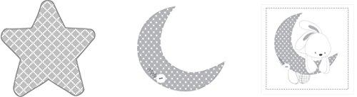 Pirulos 16213219 wandlamp, geborduurd, maan, 32 x 90 cm, wit/grijs