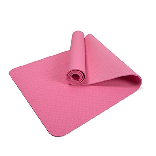 QINYUP Yoga Mat monocromática de Protección Ambiental Antideslizante Yoga Mat Impermeable a Prueba de Sudor,Rosado