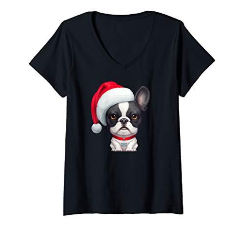 Womens Brindle Pied French Bulldog in Santa Hat Christmas V-Neck T-Shirt