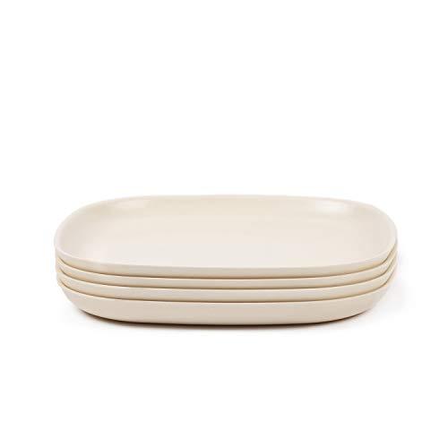 EKOBO Gusto Speiseteller Set Weiß, Medium, 4-teilig, Bambus-Faser/Melamin Teller, nachhaltig, spülmaschinenfest & schadstofffrei, Bambus Teller Set, Geschirr aus Bambus, Flache & Teller weiß