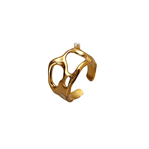 Anillo Bañado en Oro Mujer, Temperamento Hueco Anillo Geométrico Irregular de Perlas, Personalidad Exagerada Moda Anillos De Dedo Abiertos para Mujeres
