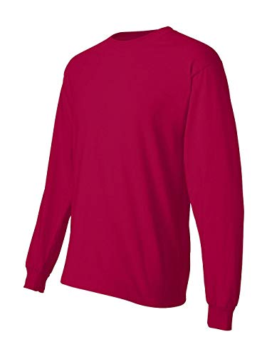 T-Shirt Manica Lunga in Cotone Beefy, Rosso Intenso, Piccolo