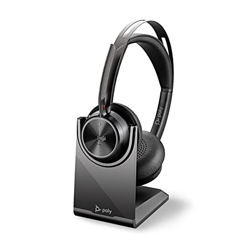 Poly - Voyager Focus 2 UC USB-A Headset with Stand (Plantronics) - Bluetooth Stereo Headset with Boom Mic - USB-A PC/Mac Compatible - Active Noise Canceling - Works with Teams (Certified), Zoom & more